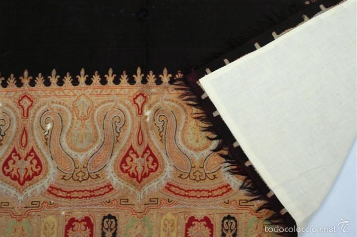 Antigüedades: Pañuelo de merino, estampado - Foto 9 - 58153234