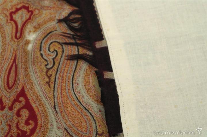 Antigüedades: Pañuelo de merino, estampado - Foto 10 - 58153234
