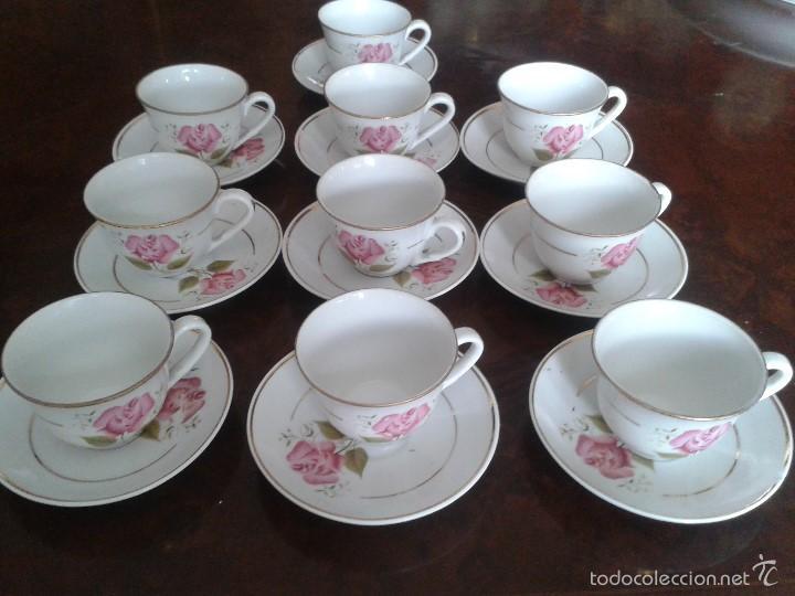ANTIGUAS 10 TAZAS CON PLATOS, DE CAFE. (Antigüedades - Porcelanas y Cerámicas - Otras)