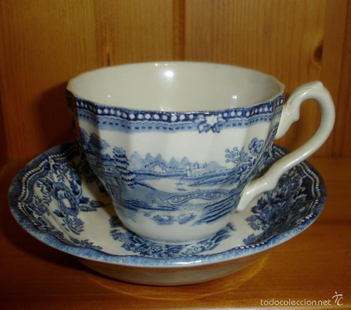 TAZA Y PLATO DE PORCELANA INGLESA ANTIGUA (Antigüedades - Porcelanas y Cerámicas - Inglesa, Bristol y Otros)