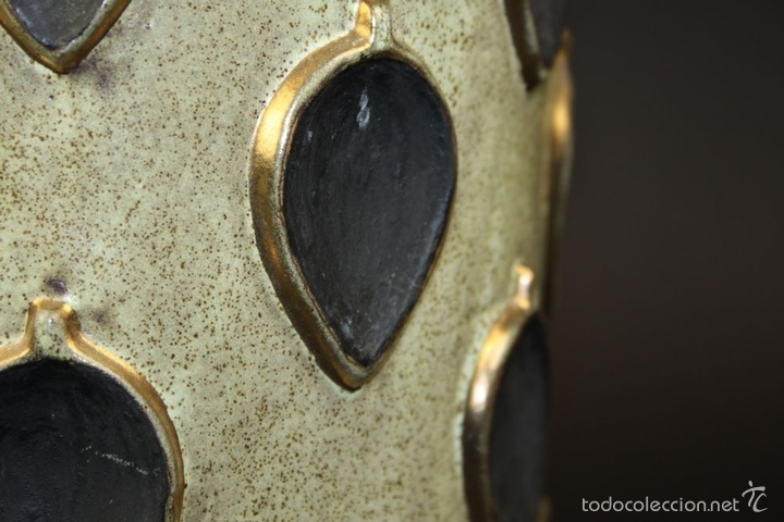 Antigüedades: JARRÓN. CERÁMICA ESMALTADA Y DORADA A MANO. ALEMANIA(?). CON MARCAS. CIRCA 1950 - Foto 5 - 58183370