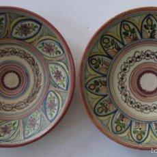 Antigüedades: DOS PLATOS SANGUINO DE TOLEDO. Lote 58191830