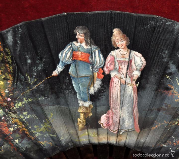 Antigüedades: ABANICO DE PRINCIPIOS DEL S. XX CON PAÍS PINTADO SOBRE TELA Y VARILLAJE EN CAREY - Foto 2 - 58196993
