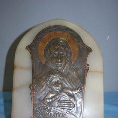 Antigüedades: BENDITERA MODERNISTA VIRGEN DE LOS OLIVOS EN MÁRMOL Y METAL. Lote 58197477