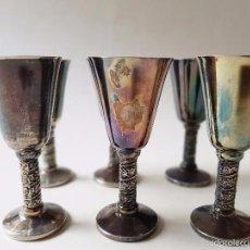 Antigüedades: JUEGO DE 6 COPAS BAÑO DE PLATA SOBRE BRONCE, EP BRASS. SIN USO, PERFECTO ESTADO, DE VITRINA.. Lote 58198707