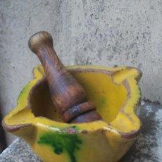Antigüedades: ANTIGUO MORTERO VIDRIADO - ÚBEDA, JAÉN - CERÁMICA POPULAR - BONITO DESGASTE POR USO. Lote 58199043