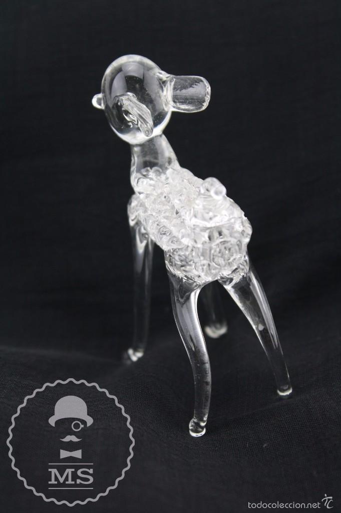 Antigüedades: Bonito Corderito de Cristal Tipo Murano - Artesanal - Medidas 5 x 3,5 x 7,5 cm - Foto 4 - 58199585