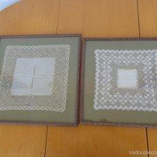 Antigüedades: 2 ANTIGUOS PAÑUELOS DE ENCAJE DE BOLILLO ENMARCADOS . Lote 58207231