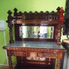 Antigüedades: ANTIGUO MUEBLE APARADOR DE NOGAL CON ESPEJO . SIGLO XIX. Lote 58213026