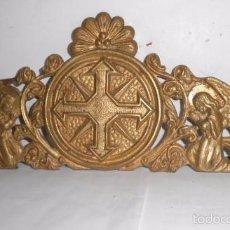 Antigüedades: COPETE RELIGIOSO ANTIGUO EN BRONCE. Lote 58213657
