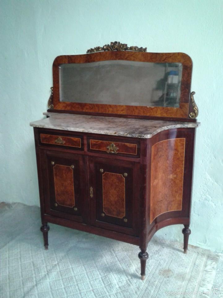 Antigüedades: Aparador antiguo con espejo estilo isabelino, mueble auxiliar mármol alacena antigua vintage - Foto 2 - 58218735