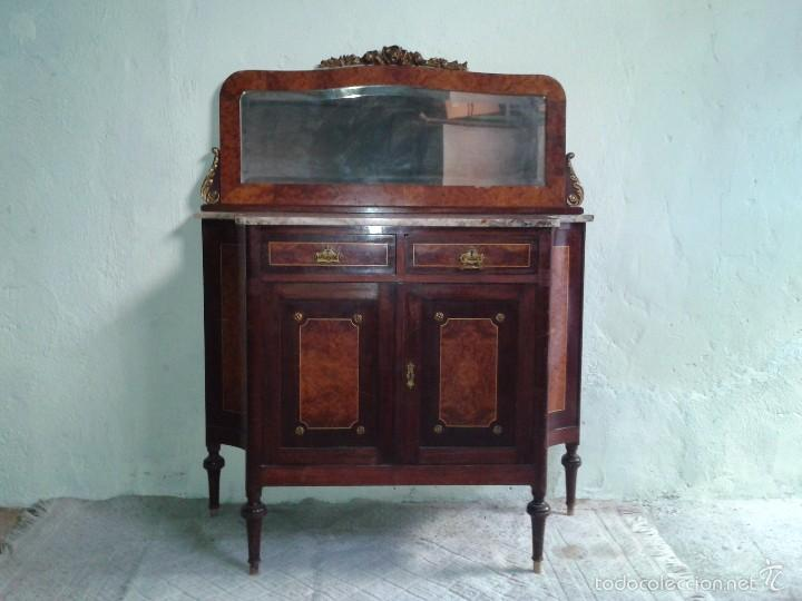 Antigüedades: Aparador antiguo con espejo estilo isabelino, mueble auxiliar mármol alacena antigua vintage - Foto 3 - 58218735