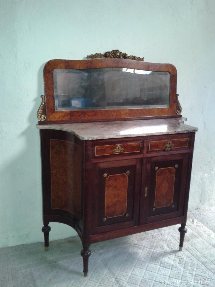 Antigüedades: Aparador antiguo con espejo estilo isabelino, mueble auxiliar mármol alacena antigua vintage - Foto 4 - 58218735