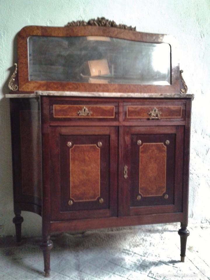 Antigüedades: Aparador antiguo con espejo estilo isabelino, mueble auxiliar mármol alacena antigua vintage - Foto 5 - 58218735