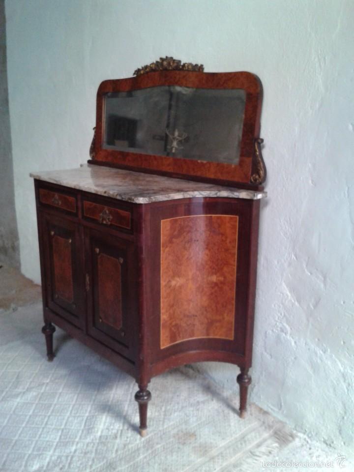Antigüedades: Aparador antiguo con espejo estilo isabelino, mueble auxiliar mármol alacena antigua vintage - Foto 6 - 58218735