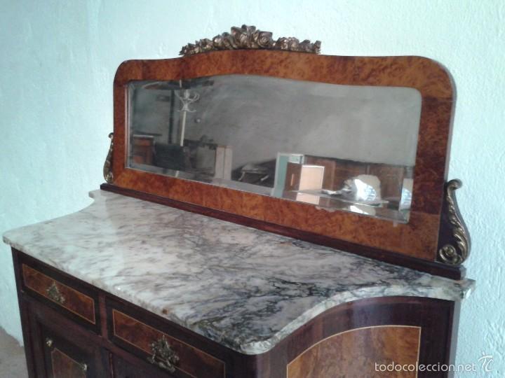 Antigüedades: Aparador antiguo con espejo estilo isabelino, mueble auxiliar mármol alacena antigua vintage - Foto 7 - 58218735