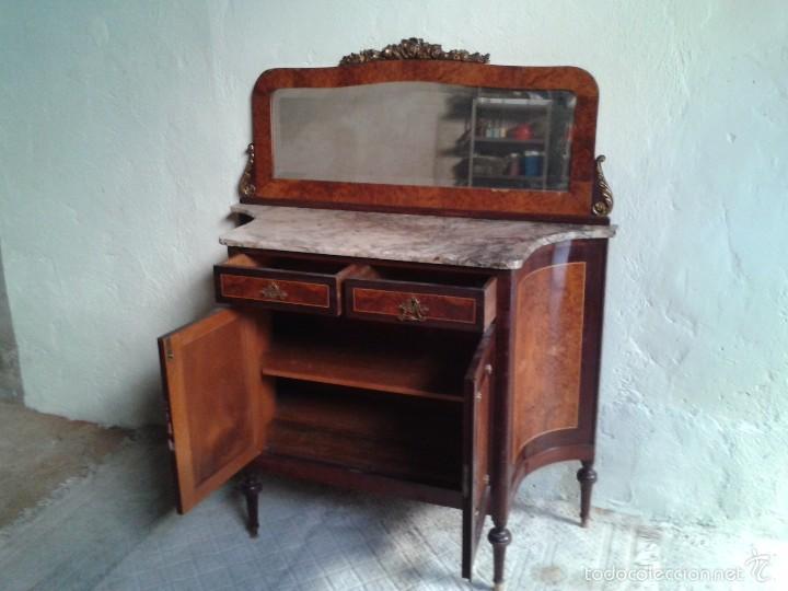 Antigüedades: Aparador antiguo con espejo estilo isabelino, mueble auxiliar mármol alacena antigua vintage - Foto 8 - 58218735