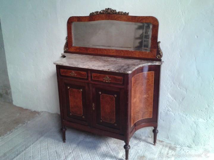 Antigüedades: Aparador antiguo con espejo estilo isabelino, mueble auxiliar mármol alacena antigua vintage - Foto 9 - 58218735