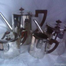 Antigüedades: JUEGO DE CAFE - TE, ART DECO ALEMAN, SELLADO EN LA BASE WMF, EMBELLECEDORES Y ASAS DE BAQUELITA. Lote 58222640