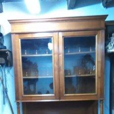 Antigüedades: ALACENA CHINERO DE CEREZO CON VITRIINA (LIQUIDACIÓN). Lote 58222792
