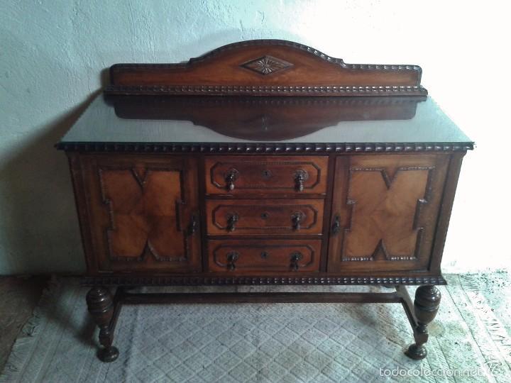 Antigüedades: mueble aparador antiguo rústico estilo renacimiento aparador castellano mueble auxiliar años 40. - Foto 2 - 58230767