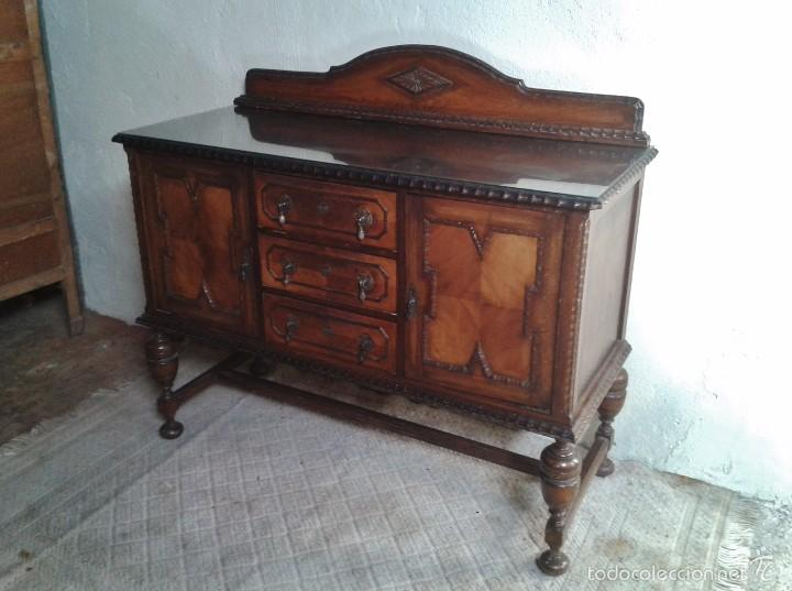 Antigüedades: mueble aparador antiguo rústico estilo renacimiento aparador castellano mueble auxiliar años 40. - Foto 3 - 58230767