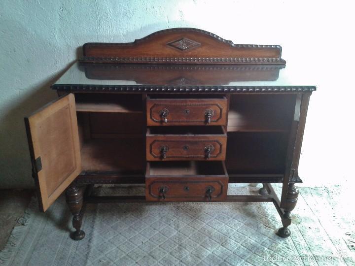 Antigüedades: mueble aparador antiguo rústico estilo renacimiento aparador castellano mueble auxiliar años 40. - Foto 5 - 58230767