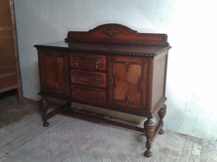 Antigüedades: mueble aparador antiguo rústico estilo renacimiento aparador castellano mueble auxiliar años 40. - Foto 8 - 58230767