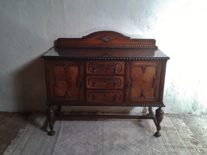 Antigüedades: mueble aparador antiguo rústico estilo renacimiento aparador castellano mueble auxiliar años 40. - Foto 9 - 58230767