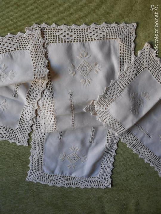 Antigüedades: Magnifico juego 3 piezas, bordado de la gartera.lino color beige.estilo retro.nuevo - Foto 5 - 58244318