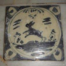Antigüedades: AZULEJO DE TRIANA. S.XVIII. CONEJO. SERIE MONOCROMA.. Lote 58248373