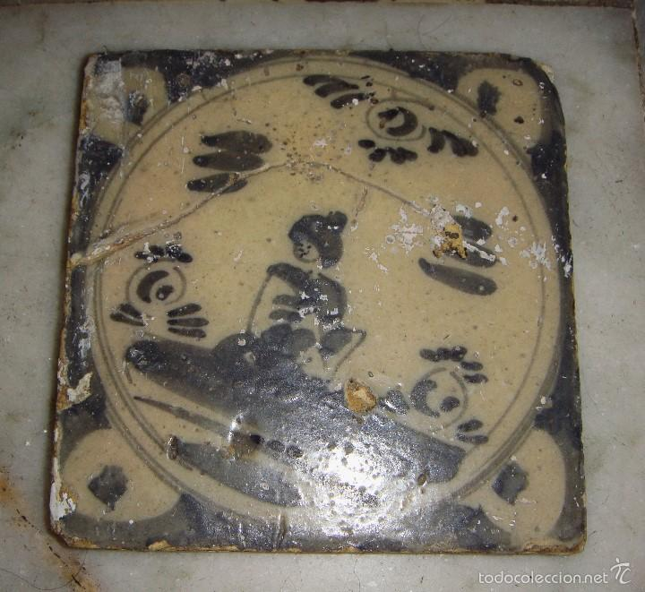 AZULEJO DE TRIANA. S.XVIII. MOTIVO ORIENTAL. SERIE MONOCROMA. (Antigüedades - Porcelanas y Cerámicas - Triana)