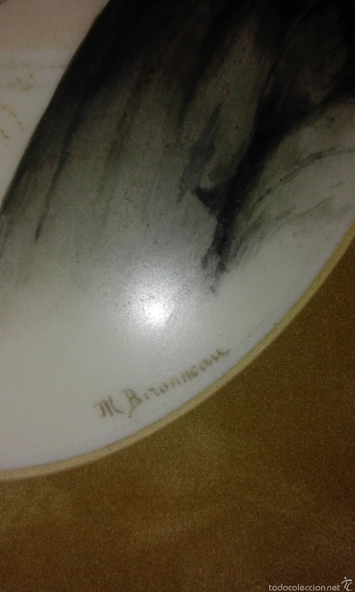 Antigüedades: Linda placa de porcelana pintada XIX firmada - Foto 2 - 58254630