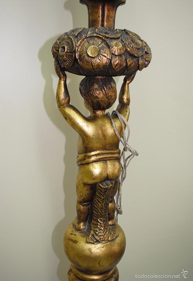 Antigüedades: LÁMPARA ANTIGUA DE PIE TALLADO Y REMATADO POR FIGURA EN PAN DE ORO - Foto 10 - 58255249