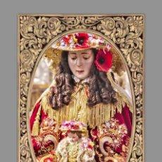 Antigüedades: AZULEJO 40X25 DE LA VIRGEN DEL ROCIO DE PASTORA CON GRECA.. Lote 141796844