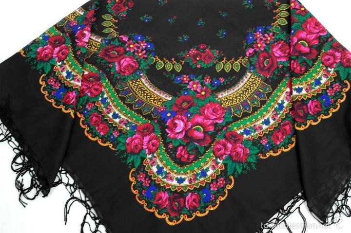 Antigüedades: Pañuelo de lana estampado - Foto 2 - 58256368