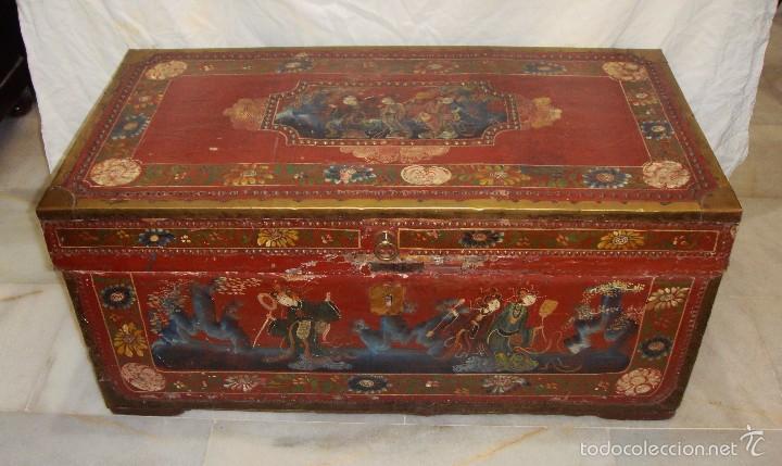 Magnifico ba l o arc n oriental finales comprar ba les antiguos en todocoleccion - Baules pintados a mano ...