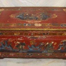 Antigüedades: MAGNIFICO BAÚL O ARCÓN ORIENTAL. FINALES S.XVIII. ALCANFOR RECUBIERTO DE CUERO. PINTADO A MANO.. Lote 58257186