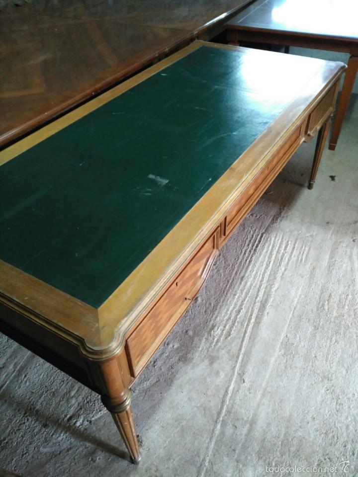 Antigüedades: Mesa de despacho con remates en marquetería - Foto 5 - 57449982