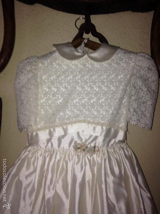 Antigüedades: vestido de primera comunión o de dama de boda pamela, tocado guantes limosnera y can can - Foto 3 - 58271204