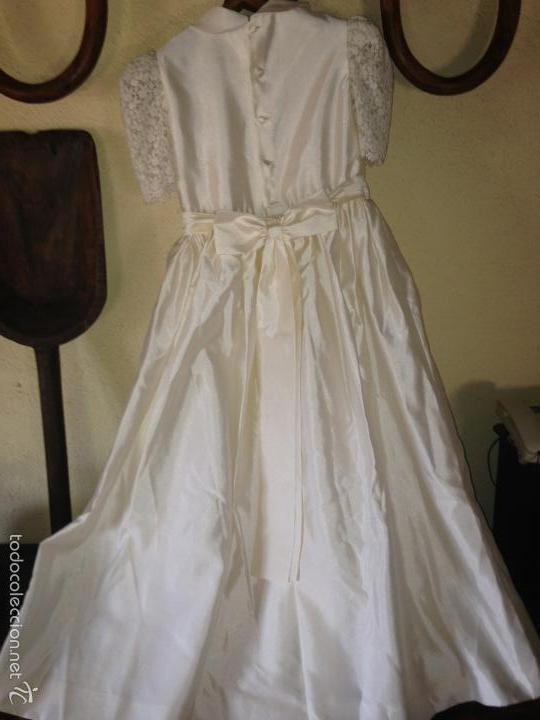 Antigüedades: vestido de primera comunión o de dama de boda pamela, tocado guantes limosnera y can can - Foto 5 - 58271204