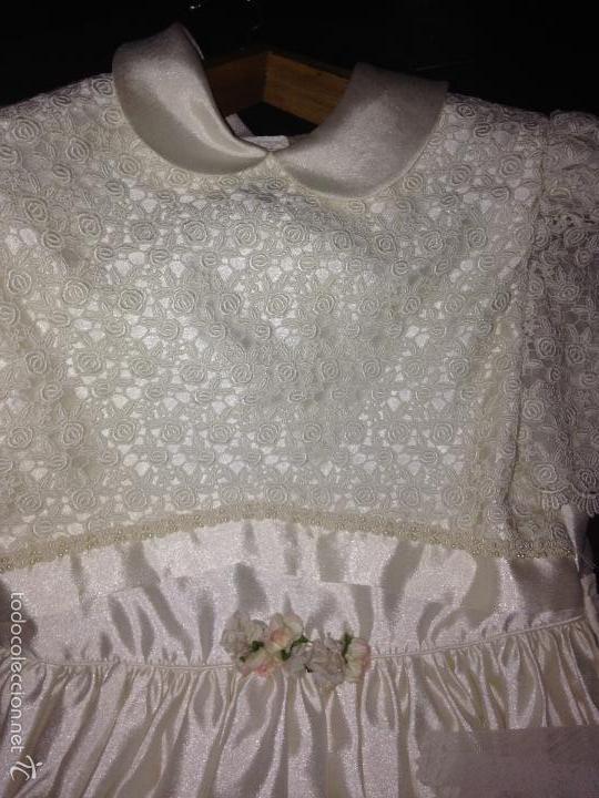 Antigüedades: vestido de primera comunión o de dama de boda pamela, tocado guantes limosnera y can can - Foto 6 - 58271204