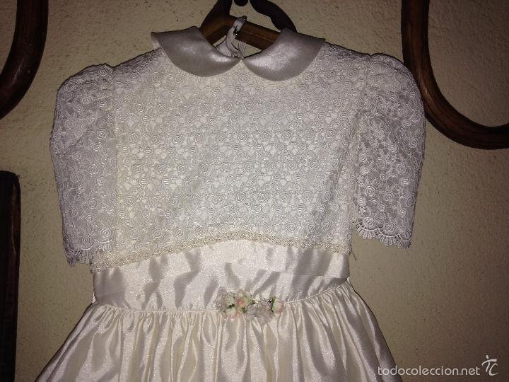 Antigüedades: vestido de primera comunión o de dama de boda pamela, tocado guantes limosnera y can can - Foto 7 - 58271204