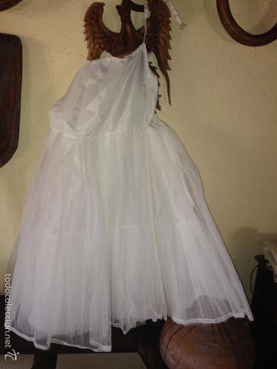 Antigüedades: vestido de primera comunión o de dama de boda pamela, tocado guantes limosnera y can can - Foto 9 - 58271204