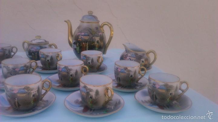 Antigüedades: Precioso juego de café de porcelana japonesa pintado completamente a mano.años 30/40 - Foto 3 - 58273799