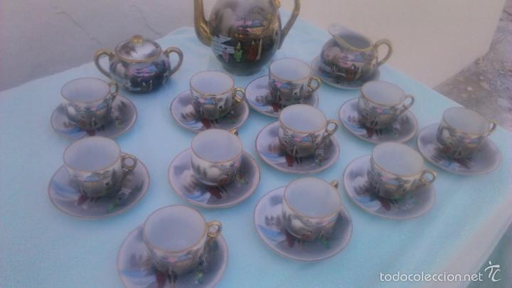 Antigüedades: Precioso juego de café de porcelana japonesa pintado completamente a mano.años 30/40 - Foto 4 - 58273799