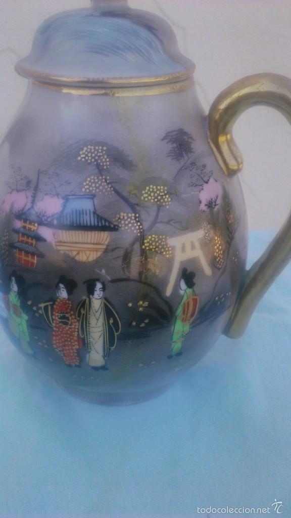Antigüedades: Precioso juego de café de porcelana japonesa pintado completamente a mano.años 30/40 - Foto 6 - 58273799