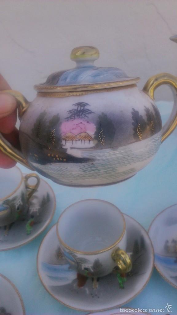 Antigüedades: Precioso juego de café de porcelana japonesa pintado completamente a mano.años 30/40 - Foto 9 - 58273799