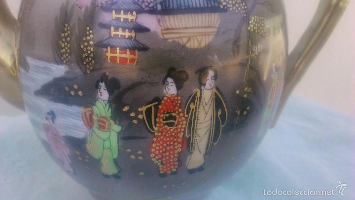 Antigüedades: Precioso juego de café de porcelana japonesa pintado completamente a mano.años 30/40 - Foto 12 - 58273799