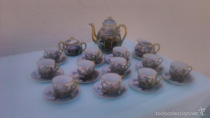 Antigüedades: Precioso juego de café de porcelana japonesa pintado completamente a mano.años 30/40 - Foto 13 - 58273799